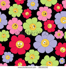 Smiley Flowers - vector seamless spring flower pattern butterfly stock vector