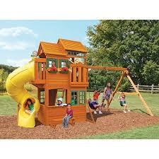 Big Backyard Swing Set Big Backyard Grand Valley Retreat Wooden Play Set Walmart Com