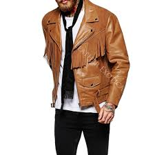 mens motorcycle leathers suede fringe detailing motorcycle jacket for men