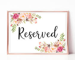 reserved signs for wedding tables reserved table sign etsy