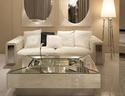 White Leather Couch Living Room Modern Minimalist Living Room With Double Wall Mirror Furniture