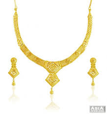 small gold necklace sets images 22k gold traditional necklace set ajns57895 22k beautiful gold jpg