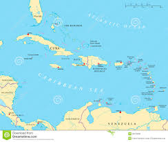 The Caribbean Map by Large And Lesser Antilles Political Map Stock Vector Image 39076600