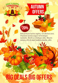 thanksgiving day sale banner with autumn season discount offer fall