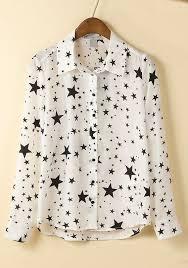 print blouses white print turndown collar cotton blend blouse blouses tops
