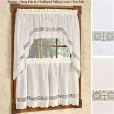Lace Trim Curtains Kitchen Curtains Tiers And Valance Window Treatments Touch Of Class