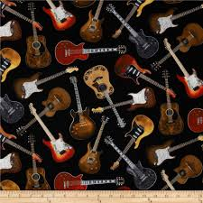 Home Decor Print Fabric Timeless Treasures Guitars Black Discount Designer Fabric