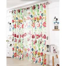 Country Style Window Curtains Beautiful Green Polyester Privacy Country Style Floral Window Curtains