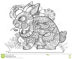 rabbit bunny coloring book for adults vector stock vector image