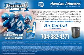 american standard heating and air conditioning rebates ac
