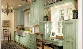 kitchen green kitchen cabinet with nice look on the edge of