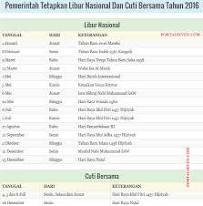 Kalender 2018 Hari Libur Indonesia Indonesia 2016 Calendar Holidays 2016
