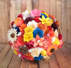 Wooden Flowers Fall Colors With A Touch Of Royal Blue Wedding Bouquets