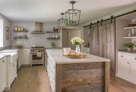 rustic barn wood kitchen cabinets barn wood planks on island transitional kitchen