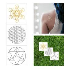 sacred geometry glow in set gold ink