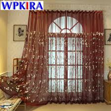 Wine Colored Curtains Blue Tulle Curtain Embroidery For Living Room Kitchen Drapes