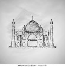 indian famous monuments sketch qutub minar stock vector 208858564