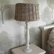 Wicker Light Fixture by Vaucluse Antique White Table Lamp And Wicker Shade By Cowshed