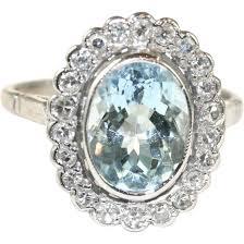 vintage english art deco 18 carat white gold aquamarine diamond