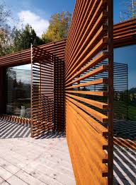 attractive look of shutter privacy for modern backyard deck design