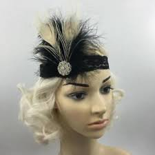 great gatsby headband black beige feather lace headpiece flapper retro 1920s great