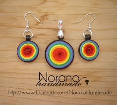 quilling earrings set quilled earrings rainbow bullseye by norano handmade on deviantart