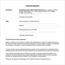 angel investor presentation template 8 investment contract