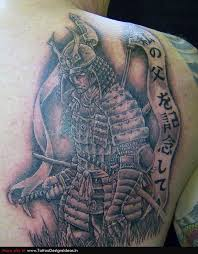 samurai sword and tree tattoos on shoulder in 2017 real photo
