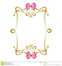 pink ribbons bows gold frame background royalty free stock