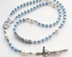 baby rosary baptism gift for boy blue swarovski rosary keepsake