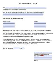 Legal Eviction Notice Letter by Free Washington Three 3 Day Notice To Quit For Nonpayment Pdf