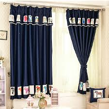 Kid Blackout Curtains Lovely Horse Patterned Dark Blue Blackout Kids Curtains