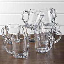 moderno clear glass coffee mug set of 8 crate and barrel