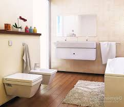 Marble Interior Walls Beige Bathroom Fixtures White Wall Mounted Double Toilet Ceramics