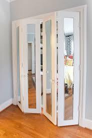 Glass Bifold Closet Doors Ideas Bifold Closet Doors With Glass Design With Wood Flooring