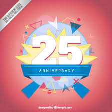 twenty fifth anniversary twenty fifth anniversary modern badge vector free