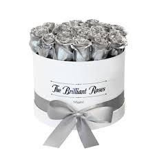 silver roses silver metallic roses in box the brilliant roses