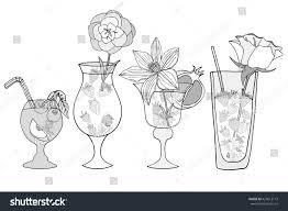vector set sketch cocktails alcohol drinks stock vector 424613113