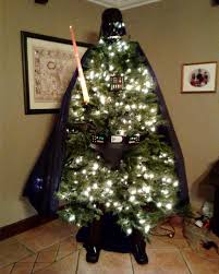 star wars christmas tree made as darth vader gets baubles and