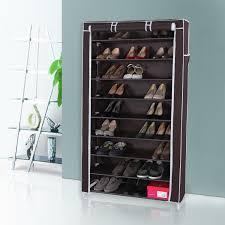amazon shoe storage cabinet amazon com songmics 10 tiers shoe rack with dustproof cover closet