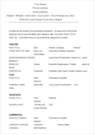 Actor Resume Examples by Standard Curriculum Vitae Format Be Fresher Resume Format For