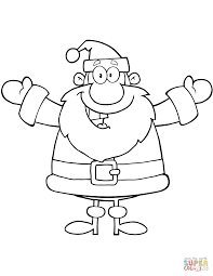happy santa claus with open arms for hugging coloring page free