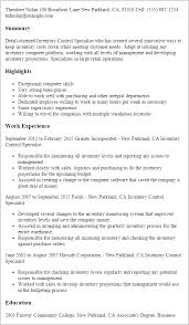 It Specialist Resume Sample by Professional Inventory Control Specialist Templates To Showcase
