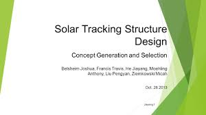 solar tracking structure design concept generation and selection