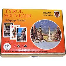Play Pinochle Double Deck by Piatnik Playing Cards Double Deck Tyrol Souvenir 1980 Face Cards