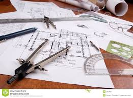 engineer architect or contractor plans and tools stock image