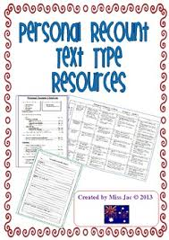 personal recount genre text type resources for writing by miss jac