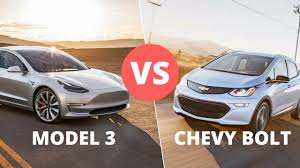 tesla model 3 vs chevy bolt cost speed safety and tech features