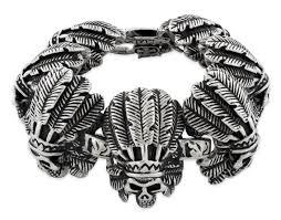 indian metal necklace images Stainless steel chief indian skull link bracelet jpg