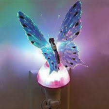 4 x fiber optic butterfly ladybug window ornament led color change